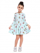 Blue Kids Girl O-Neck à manches longues Cute Pattern Print A-Line Robe