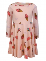 Pink O-Neck Long Sleeve Cute Pattern Print Dress