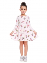 White O-Neck Long Sleeve Cute Pattern Print Dress