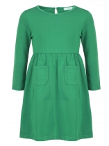Green Girls' O-Neck Long Sleeve Elastic Waist Solid Dress