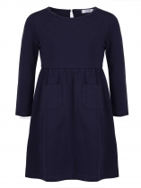 Navy blue Girls' O-Neck Long Sleeve Elastic Waist Solid Dress