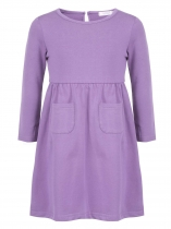 Purple Girls' O-Neck Long Sleeve Elastic Waist Solid Dress