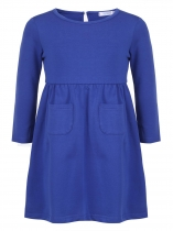Royal Blue Girls' O-Neck Long Sleeve Elastic Waist Solid Dress