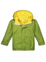 Green Solid Hooded Windbreaker Waterproof Rain Outwear