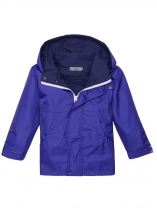 Blue Solid Hooded Windbreaker Waterproof Rain Outwear