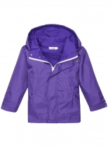 Purple Solid Hooded Windbreaker Waterproof Rain Outwear