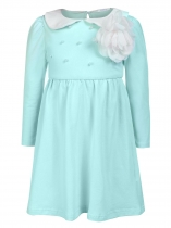 Light blue Doll Neck Long Sleeve Patchwork Beads A-Line Dress