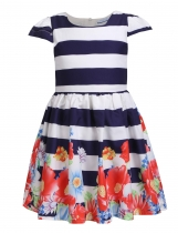Mono Style Girls' Cap Sleeve Striped Floral Print Pleated Casual Dress