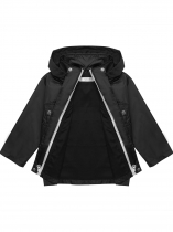 Black Hooded Long Sleeve Solid Lightweight Raincoat Jacket
