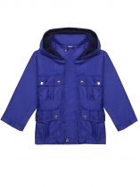 Navy blue Hooded Long Sleeve Solid Lightweight Raincoat Jacket