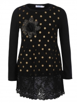 Black Kids Girl O-Neck Long Sleeve Dot Lace Patchwork Dress