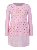 Pink Kids Girl O-Neck Long Sleeve Dot Lace Patchwork Dress