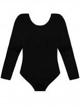 Black Women Multi Strap Back O-Neck Long Sleeve Solid Leotard Bodysuit