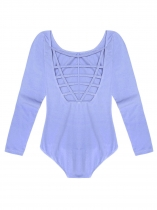 Light blue Women Multi Strap Back O-Neck Long Sleeve Solid Leotard Bodysuit
