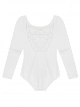 White Women Multi Strap Back O-Neck Long Sleeve Solid Leotard Bodysuit