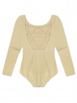 Light khaki Women Multi Strap Back O-Neck Long Sleeve Solid Leotard Bodysuit