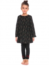 Black Kids Girl O-Neck Long Sleeve Cute Pattern Print Dress