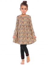 Beige Kids Girl O-Neck Long Sleeve Cute Pattern Print Dress