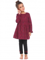 Wine red Kids Girl O-Neck Long Sleeve Cute Pattern Print Dress