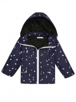 Navy blue Stand Collar Long Sleeve Dot Print Detachable Hooded Zip Up Raincoat Jacket