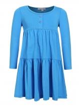 Blue Kids Girl O-Neck Long Sleeve Cute Ruffles Loose Dress
