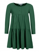 Green Kids Girl O-Neck Long Sleeve Cute Ruffles Loose Dress