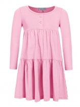 Rosa Kids Girl O-Neck manga comprida Cute Ruffles Loose Dress