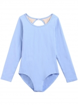 Light blue Women Classic Keyhole Back Long Sleeve Patchwork Leotard
