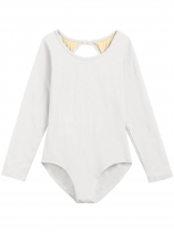 White Women Classic Keyhole Back Long Sleeve Patchwork Leotard