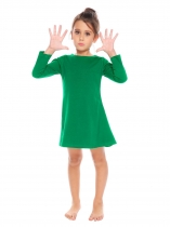 Green Kids Girl O-Neck Long Sleeve Solid Big Wing Dress