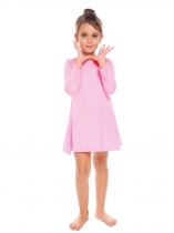 Pink Kids Girl O cou à manches longues solide Big Wing Dress