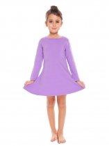 Purple Kids Girl O-Neck Long Sleeve Solid Big Wing Dress