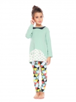 Green New Kids Girl's O-Neck Long Sleeve Printed Tops and Pants Sets