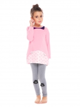 Pink New Kids Girl's O-Neck Long Sleeve Printed Tops and Pants Sets