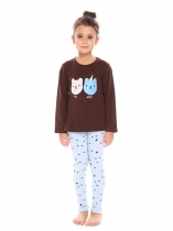 Coffee New Kids Girl's O-Neck Long Sleeve Printed Tops Pants Sets