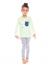 Green New Kids Girl's O-Neck Long Sleeve Printed Tops Pants Sets