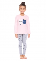 Pink New Kids Girl's O-Neck Long Sleeve Printed Tops Pants Sets