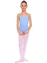 Blue Girls Gymnastics O-Neck Straps Back Solid Ballet Dance Bodysuit Camisole Leotard