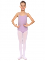 Purple Girls Gymnastics O-Neck Straps Back Solid Ballet Dance Bodysuit Camisole Leotard
