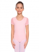 Light pink Girls Gymnastics Leotards Keyhole Back Short Sleeve Bodysuit Leotard Dancewear