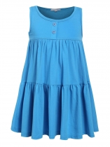 Blue Kids Girl O-Neck Sleeveless Cute Ruffles Loose Dress