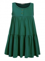 Green Kids Girl O-Neck Sleeveless Cute Ruffles Loose Dress
