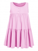 Pink Kids Girl O-Neck Sleeveless Cute Ruffles Loose Dress