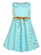 Light blue Kids Girl O-Neck Sleeveless Cute Pattern Print A-Line Dress with Belt