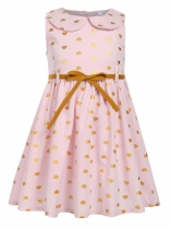 Light pink Kids Girl O-Neck Sleeveless Cute Pattern Print A-Line Dress with Belt