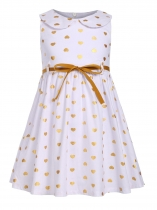 White Kids Girl O-Neck Sleeveless Cute Pattern Print A-Line Dress with Belt