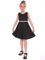 Black Kids Girl O-Neck Sleeveless Cute Solid A-Line Dress