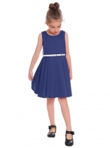 Navy blue Kids Girl O-Neck Sleeveless Cute Solid A-Line Dress