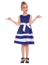 Royal Blue Kids Girl O-Neck Sleeveless Cute Contrast Color A-Line Dress