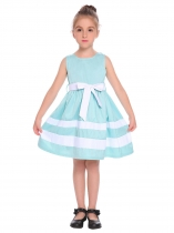 Light blue Kids Girl O-Neck Sleeveless Cute Contrast Color A-Line Dress